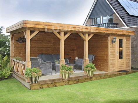 Lugarde Prima Alex flat roof summerhouse with canopy