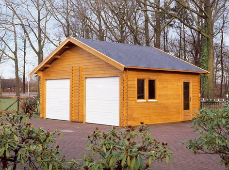 Kent Wooden Garages With Electric Double Doors