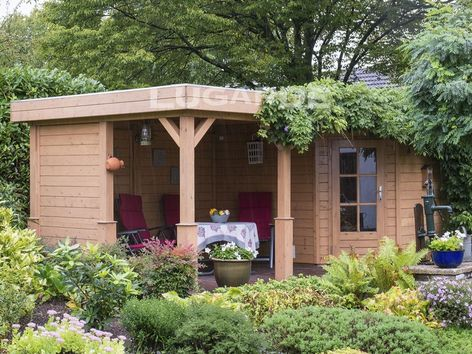 Lugarde Prima Lily flat roof summerhouse with canopy