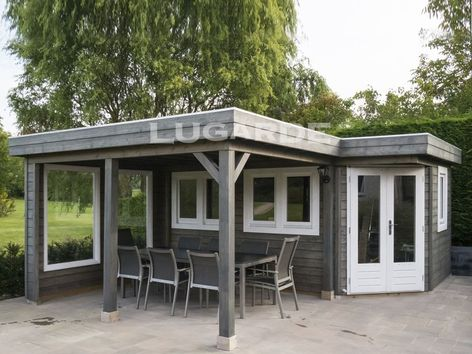 Lugarde Prima Logan flat roof summerhouse with canopy