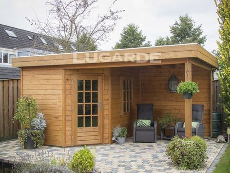 Lugarde Prima Rose flat roof summerhouse with canopy & corner door